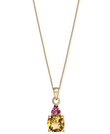 "Multi-Gemstone 18"" Pendant Necklace (1-5/8 ct. t.w.) in 14k Gold"