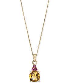 "Multi-Gemstone 18"" Pendant Necklace (1-5/8 ct. t.w.) in 14k Gold"