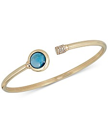 London Blue Topaz (2 ct. t.w.) and Diamond (1/5 ct. t.w.) Bangle Bracelet in 14k Gold over Sterling Silver