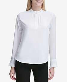 Calvin Klein Pleated-Trim Button-Neck Top
