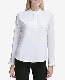 Calvin Klein Pleated-Trim Button-Neck Top