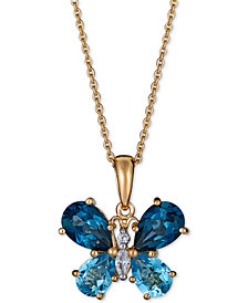 "Multi-Gemstone Butterfly 18"" Pendant Necklace (4-1/2 ct. t.w.) in 14k Gold-Plated Sterling Silver"