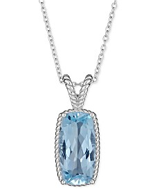 "Blue Topaz (6 ct. t.w.) Rope Frame 18"" Pendant Necklace in Sterling Silver (Also Available in Mystic Topaz)"