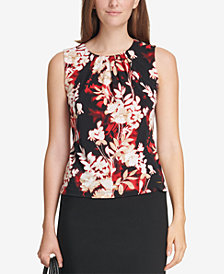 Calvin Klein Sleeveless Pleat-Neck Floral Blouse