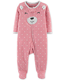 Carter's Baby Girls Bear Footed Fleece Coverall