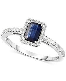 Sapphire (5/8 ct. t.w.) & Diamond (1/8 ct. t.w.) Ring in 14k White Gold