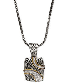 Balissima by EFFY Diamond Ribbon Pendant (1/4 ct. t.w.) in 18k Gold and Sterling Silver