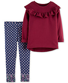 Carter's Baby Girls 2-Pc. Ruffled Top & Printed Leggings Set