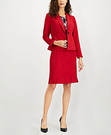 Kasper Single-Button Blazer, Printed Pleat-Neck Shell & Pleated Stretch Crepe Skirt