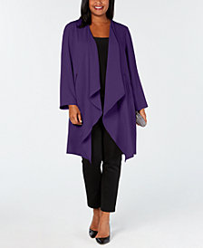 Nine West Plus Size Draped Duster Jacket