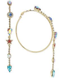 Betsey Johnson Gold-Tone Multi-Stone Chain Drop Hoop Earrings