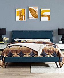 Macie King Fabric Platform Bed with Round Splayed Legs