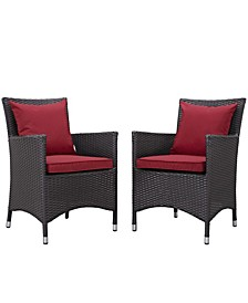 Convene 2 Piece Outdoor Patio Dining Set Red