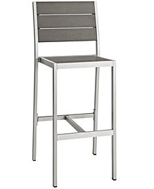 Modway Shore Outdoor Patio Aluminum Armless Bar Stool