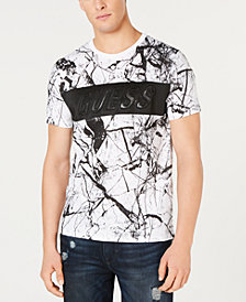 GUESS Men's Marble-Print Embossed Logo T-Shirt