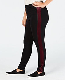 Style & Co Plus Size Velour-Trimmed Leggings, Created for Macy's