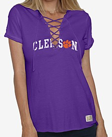 Women's Clemson Tigers Lace Up V-Neck T-Shirt