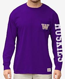 Retro Brand Men's Washington Huskies Heavy Weight Long Sleeve Pocket T-Shirt
