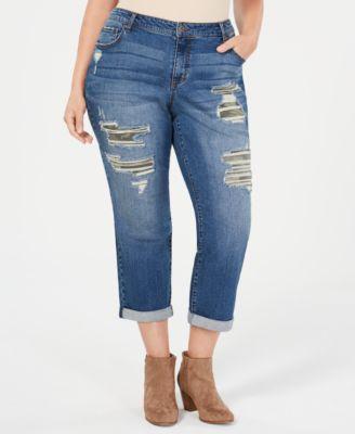 Style & Co Plus Size Camo Destructed Boyfriend-Fit Jeans Created for Macys