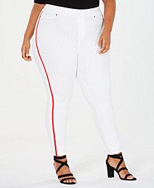 HUE® Plus Size Racer Stripe Original Denim Leggings