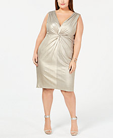 Calvin Klein Plus Size Metallic Twist-Front Jersey Dress