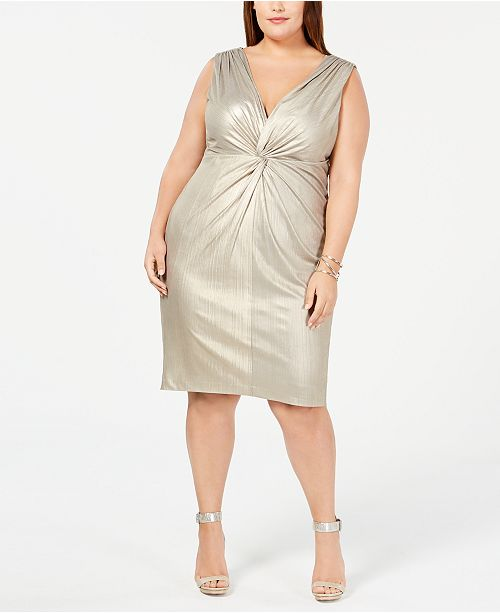 Calvin Klein Plus Size Metallic Twist-Front Jersey Dress ...