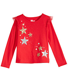 Epic Threads Little Girls Star-Print Ruffled T-Shirt, Created for Macy's