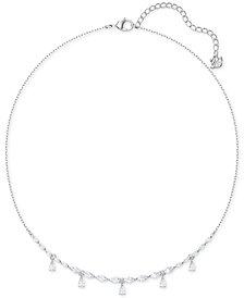 "Swarovski Silver-Tone Crystal Collar Necklace, 14-7/8"" + 2"" extender"