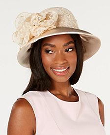 August Hats Lace & Satin Wide-Brim Hat