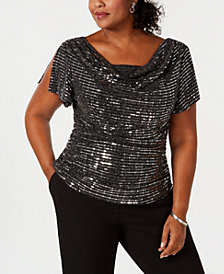 R & M Richards Plus Size Embellished Cowl-Neck Top