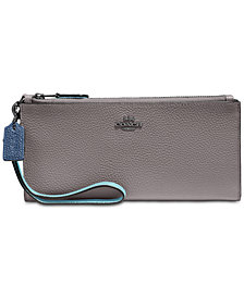 COACH Double Zip Bifold Wallet in Pebble Leather