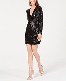 Rachel Zoe Twist-Front Sequined Dress