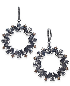 I.N.C. Hematite-Tone Crystal & Stone Drop Hoop Earrings, Created for Macy's