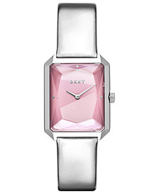 DKNY Women's Cityspire Silver-Tone Leather Strap Watch 27x34mm, Created for Macy's