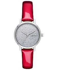 DKNY Women's Modernist Red Patent Leather Strap Watch 32mm, Created for Macy's