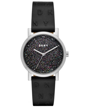 Dkny WOMEN'S SOHO MATTE BLACK LEATHER STRAP WATCH 34MM, CREATED FOR MACY'S