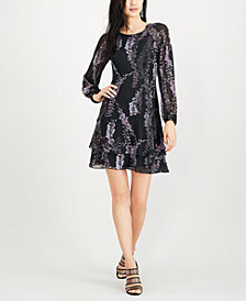 Bar III Long Sleeve Ruffle Hem Dress, Created for Macy's