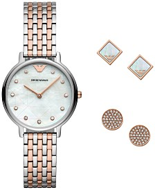 Emporio Armani Women's Two-Tone Stainless Steel Bracelet Watch 32mm Gift Set