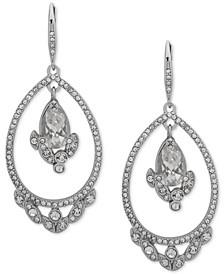 Silver-Tone Crystal Cluster Orbital Drop Earrings
