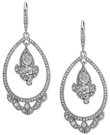 Jenny Packham Silver-Tone Crystal Cluster Orbital Drop Earrings