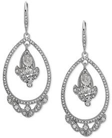 Jenny Packham Silver-Tone Crystal Cluster Orbital Drop Earrings