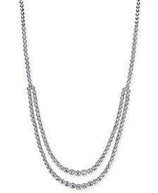 "Diamond Two Row Fancy 17"" Collar Necklace (5-1/4 ct. t.w.) in 14k White Gold"