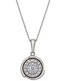 "Diamond Circle 18"" Pendant Necklace (1/4 ct. t.w.) in 14k White Gold"