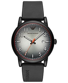 Men's Black Rubber Strap Watch 43mm