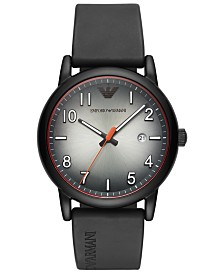 Emporio Armani Men's Black Rubber Strap Watch 43mm