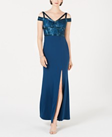 Adrianna Papell Sequined Cold-Shoulder Gown
