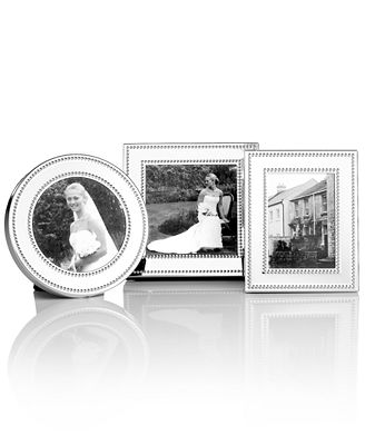 martha stewart collection picture frames set of 3 silver bead mini - Mini Picture Frames