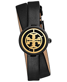 Tory Burch Women's Reva Black Leather Double Wrap Strap Watch 28mm