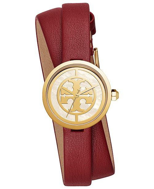 Tory Burch Women's Reva Phonebox Leather Double Wrap Strap Watch 28mm