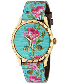 Gucci Women's Swiss G-Timeless Blue Flower Print Leather Strap Watch 38mm
